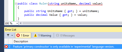 Visual Studio 14 CTP Feature primary constructor is only available