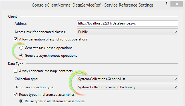 Configure Service  Reference WCF