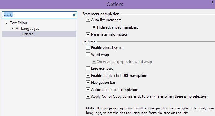 Options Visual Studio