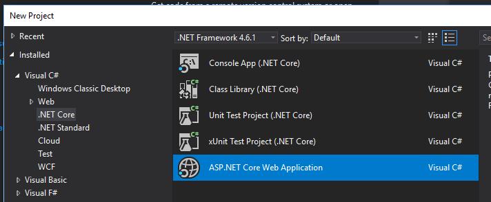 New Project Visual Studio 2017