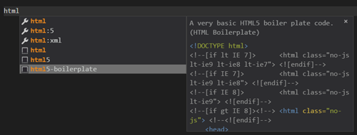 HTML Boilerplate Visual Studio Code
