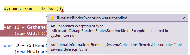 RuntimeBinderException