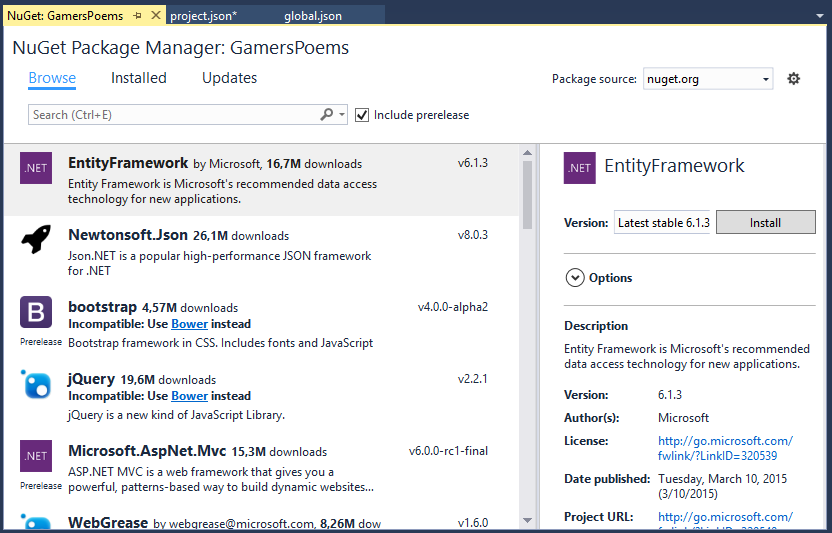 NuGet Package Window Browse