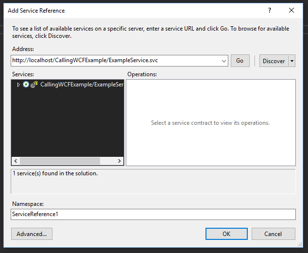 Local IIS ADD Service Reference