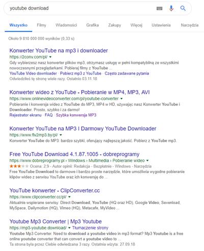 Wyszukiwania youtube download