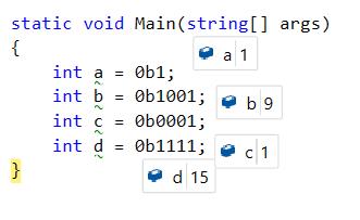 Binary literals