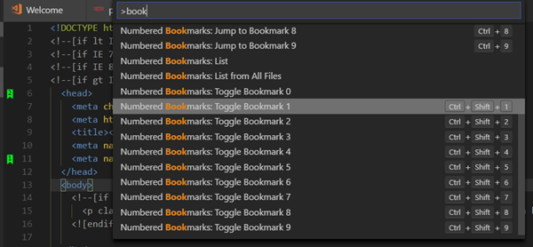 Bookmarks in Visual Studio Code