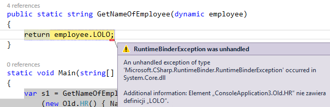 RuntimeBinderException dynamic