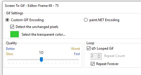 Jakość zapisu Screen to Gif