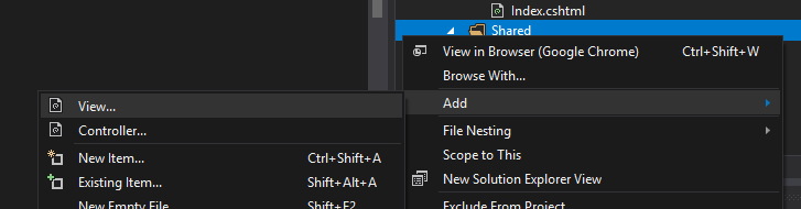 ASP.NET CORE Shared View