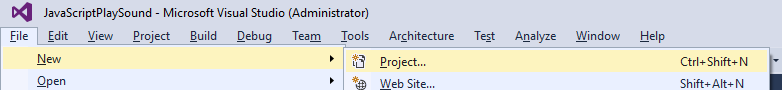Nowy projekt Visual Studio