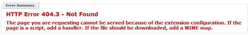 HTTP ERROR 404.3 IIS