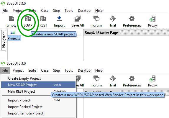 SOAPUI tworzenie projektu